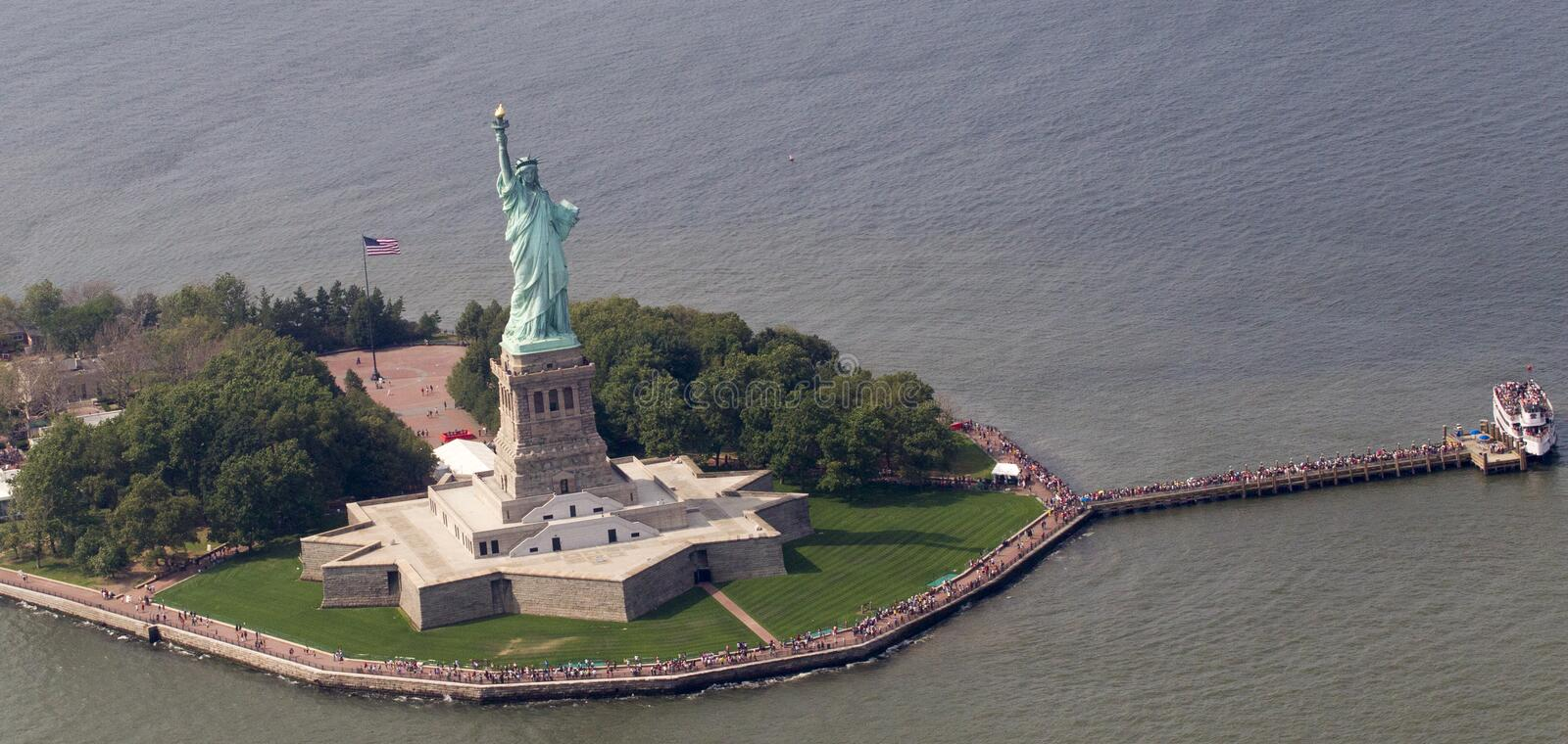 Statue of Liberty from air. stock images