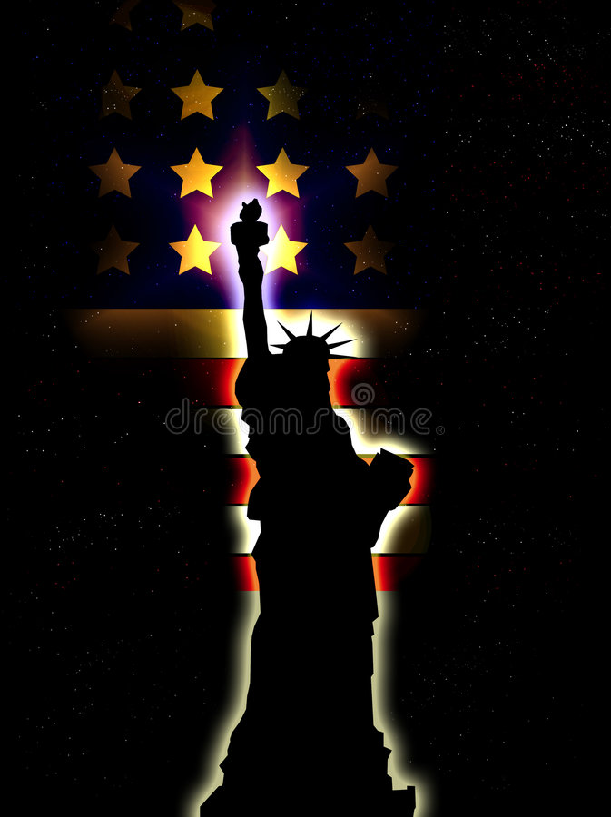 Statue Of Liberty With American Flag 9 Royalty Free Stock Photography