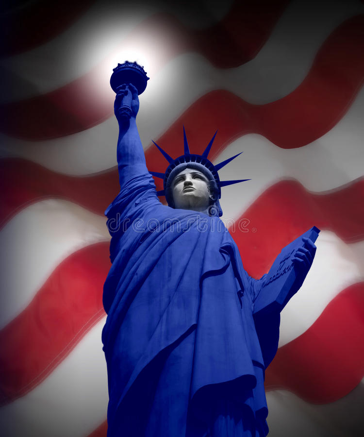 AMERICAN FLAG WITH STATUE OF LIBERTY PATRIOTIC. Statue of Liberty with the America Flag Red, White, Blue Patriotic Theme Symbol Background stock photos