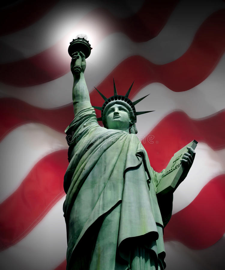 AMERICAN FLAG WITH STATUE OF LIBERTY PATRIOTIC AMERICA FREEDOM. Statue of Liberty with the American Flag a Patriotic Symbol Background. Fourth of July. America stock photo