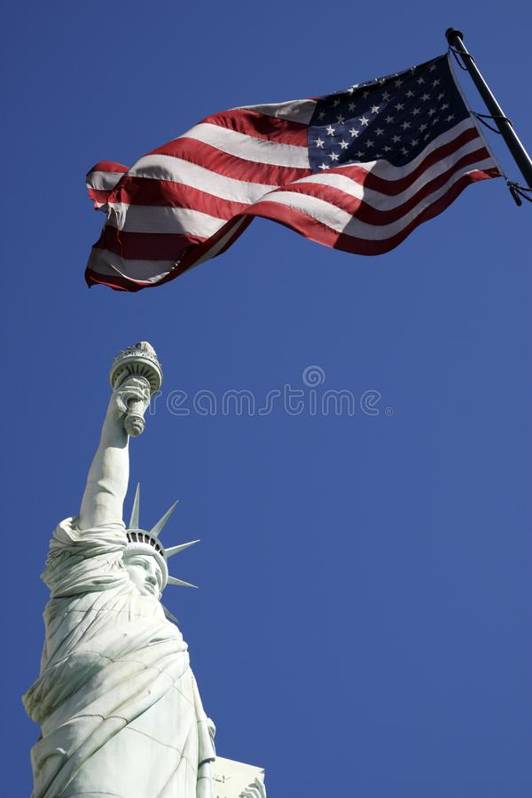 Download Statue Of Liberty And The American Flag United Sta Stock Image - Image of strips, blue: 9822603