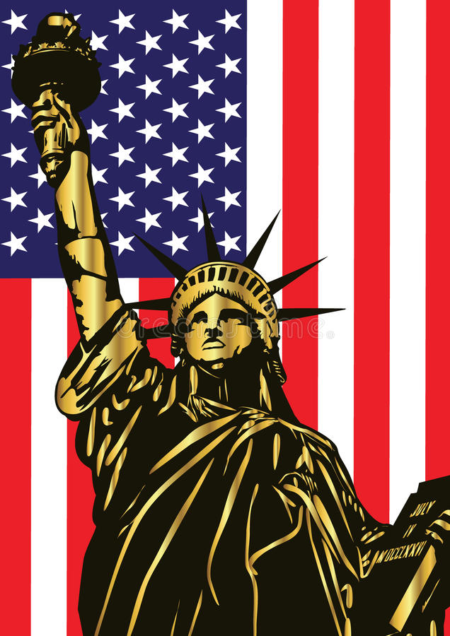 Statue of Liberty and american flag - vector. Statue of Liberty- landmark and symbol of Freedom and Democracy royalty free illustration
