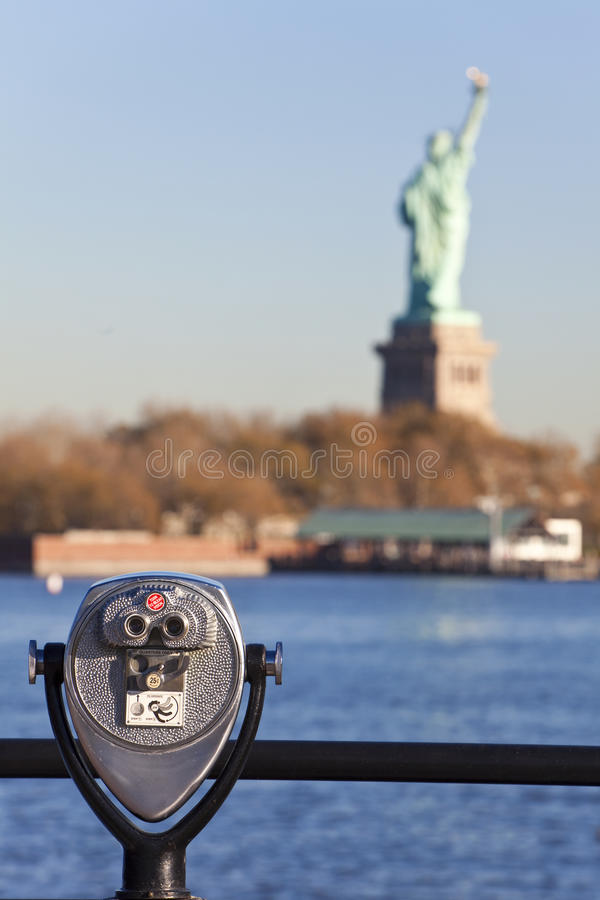 The Statue of Liberty and Binoculars New York City royalty free stock images