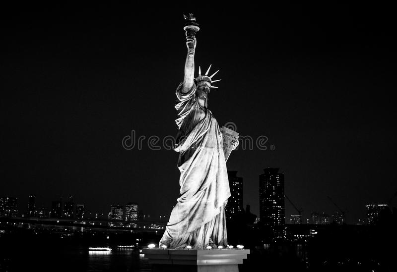 Statue of liberty. Black and white version of statue of liberty in Odaiba, Tokyo stock photo
