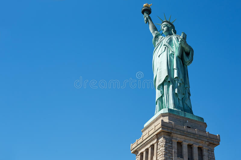 Statue Of Liberty On Blue Sky Low Angle View Stock Photo Image Of
