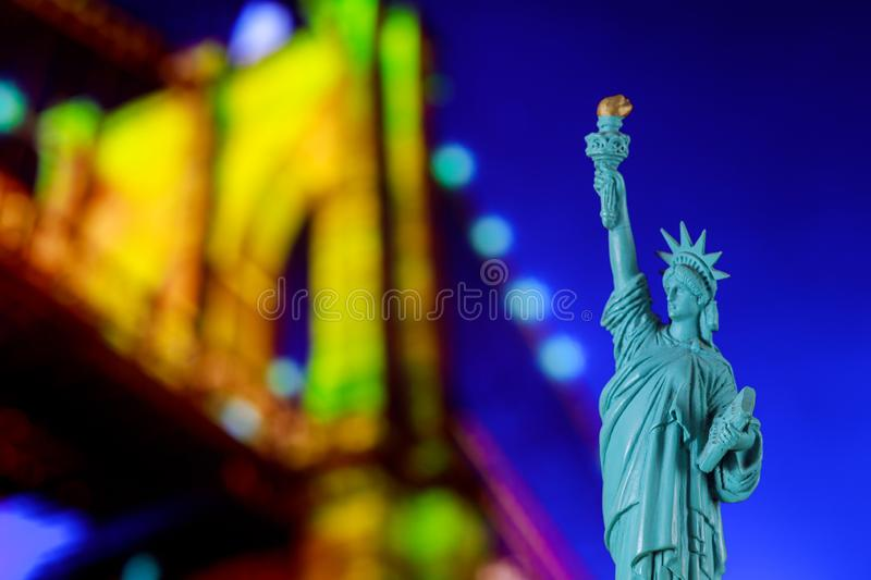 Brooklyn Bridge, tribute in light and The Statue of Liberty at Night Lights, New York City stock image