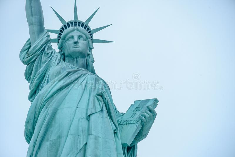 The Statue of Liberty in the United States. The Statue of Liberty is a colossal neoclassical sculpture on Liberty Island in New York Harbor in New York City, in stock images