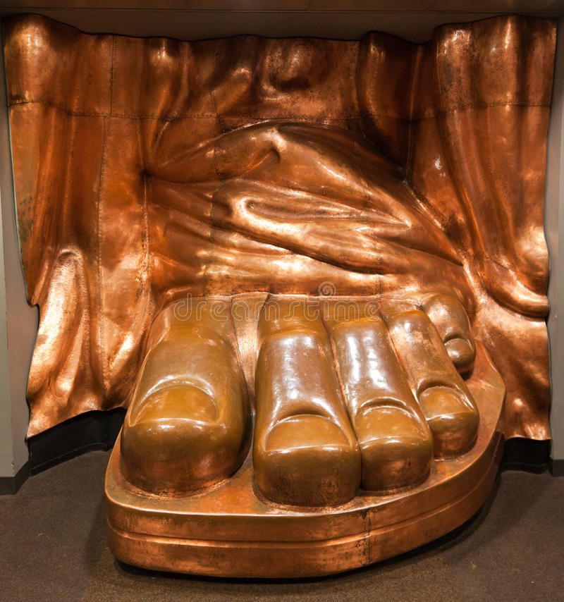 Statue of Liberty Copper Foot New York City stock photo