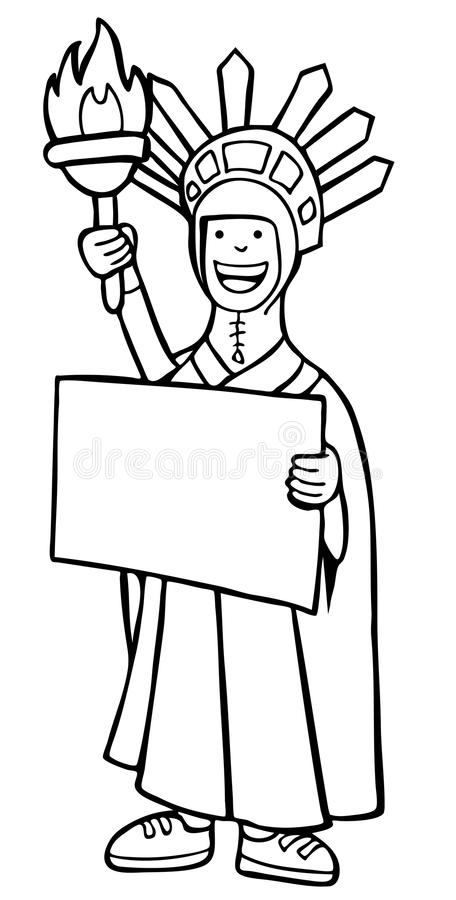 Download Statue Of Liberty Costume - Black And White Stock Vector - Illustration of icon, isolated: 9383134