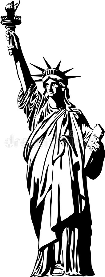 Statue of Liberty/eps. Black and white illustration depicting Lady Liberty which has stood in New York Harbor since 1886 when presented by the people of France