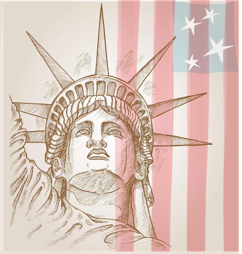 Statue of liberty face stock illustration