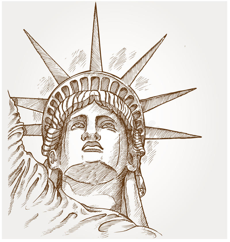 Statue of liberty face royalty free illustration