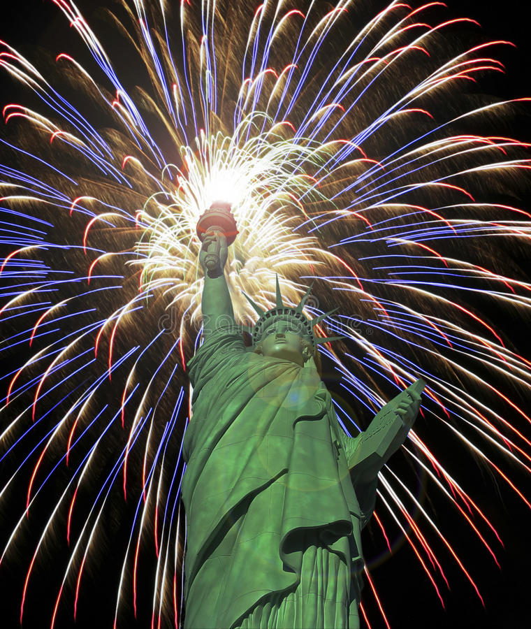 A Statue of Liberty Fourth of July Fireworks Celebration royalty free stock image