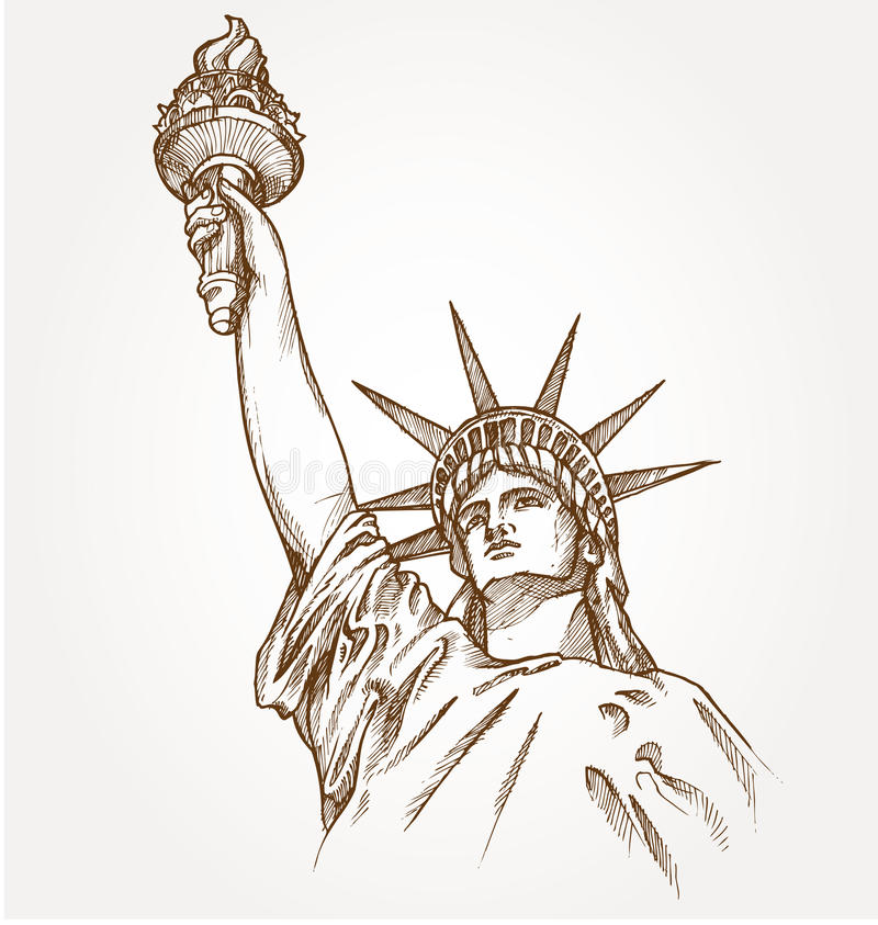 Statue of liberty hand dawn vector illustration