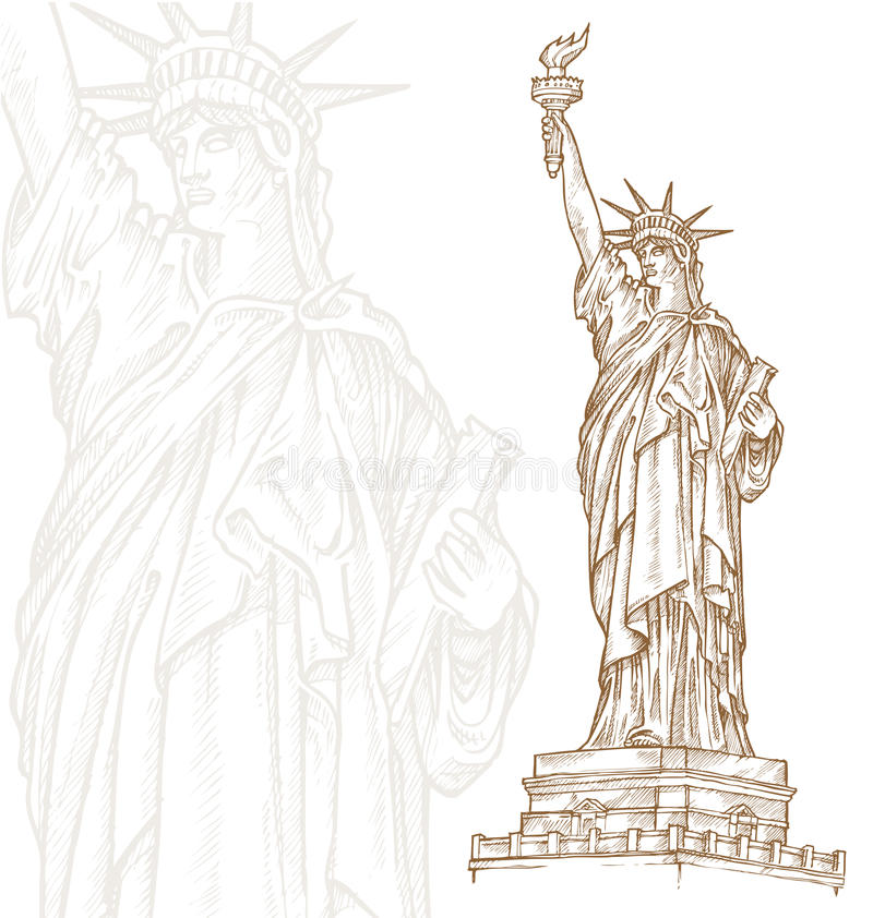 Statue of liberty hand draw vector illustration