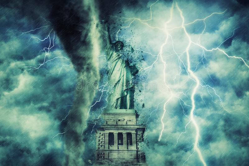 statue of liberty during the heavy storm, rain and lighting in New York. stock photography