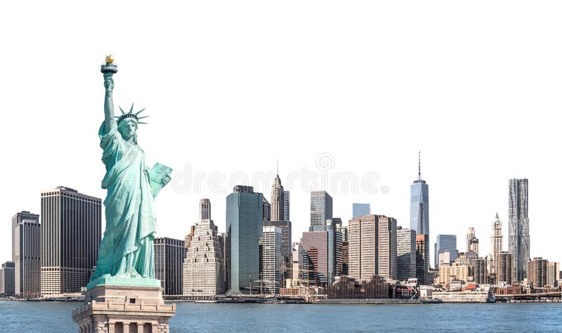 The Statue of Liberty with high-rise building in Lower Manhattan, New York City. Isolated with clipping path royalty free stock images