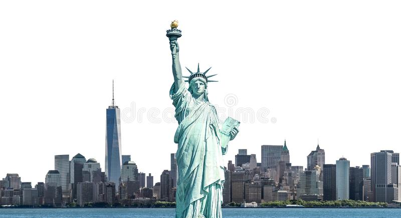 The Statue of Liberty with high-rise building in Lower Manhattan, New York City. Isolated with clipping path stock image