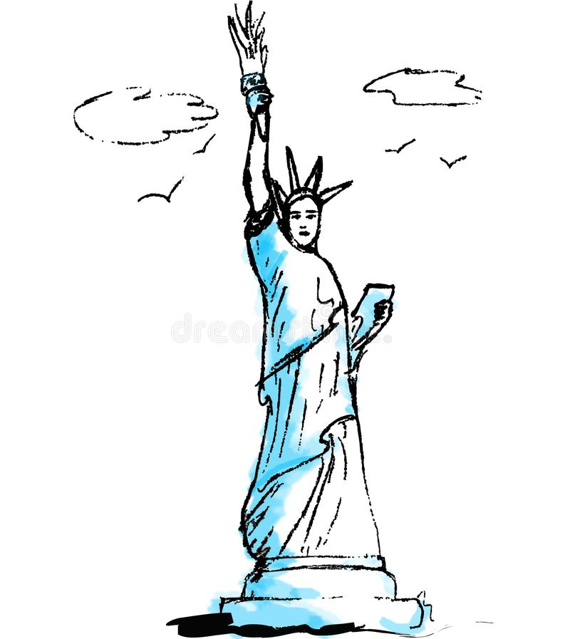Statue of liberty, illustration stock images