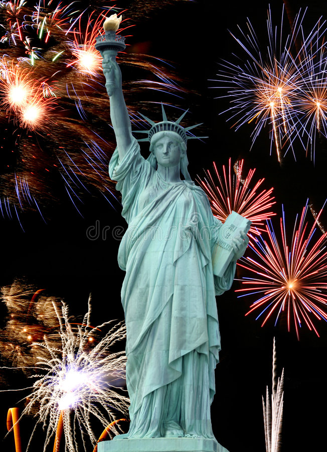 Download The Statue Of Liberty And July 4th Firework Stock Photo - Image: 4782164
