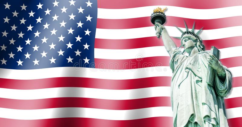 The Statue of Liberty, Landmarks of New York City with Flag of the United States background stock photos