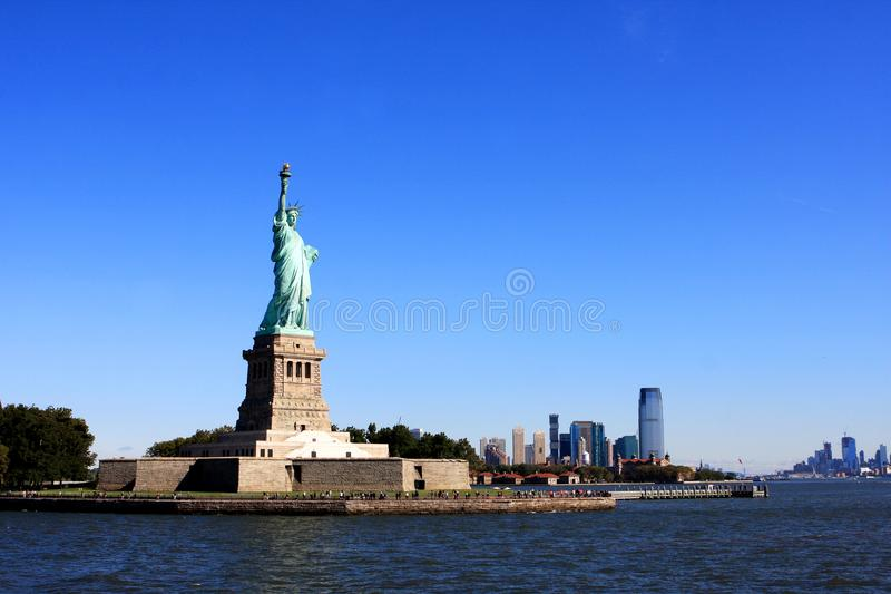 Statue of Liberty, New York city. The Statue of Liberty on Liberty Island in New York Harbor in New York City, United States stock images