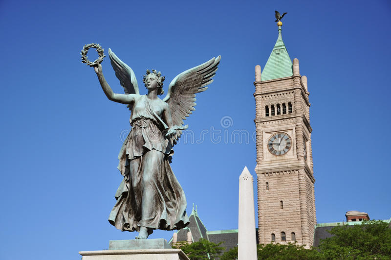 Statue of Liberty in Lowell, Massachusetts. Statue of Liberty in front of City Hall in Lowell National Historic District, Massachusetts, USA royalty free stock image