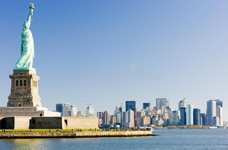 Statue of Liberty and Manhattan, New York City, USA stock photo