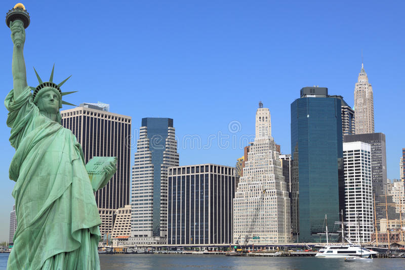 Download The Statue Of Liberty And Manhattan Skyline Stock Image - Image: 14181599