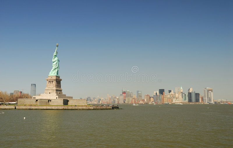 Download Statue Of Liberty And Manhattan Skyline Stock Image - Image: 5021547