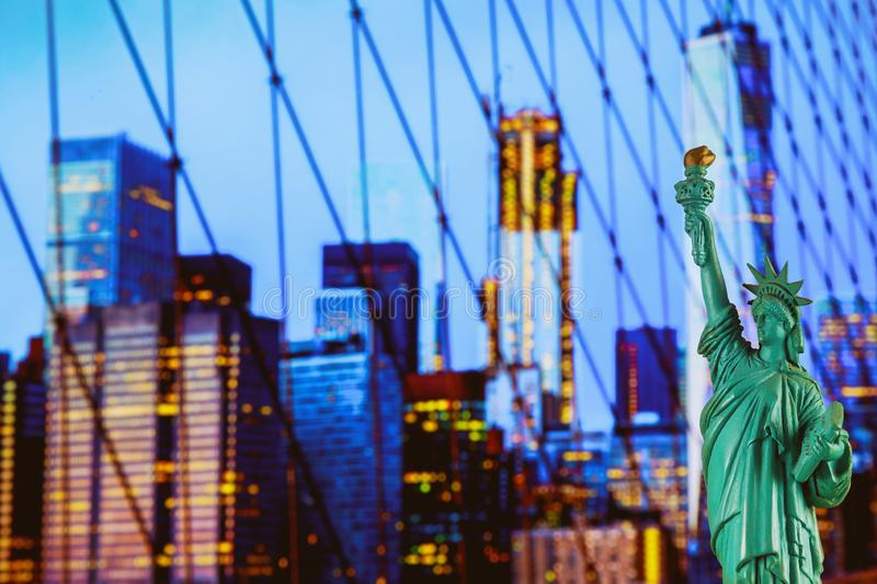 The Statue of Liberty and Manhattan skyline, New York City royalty free stock image