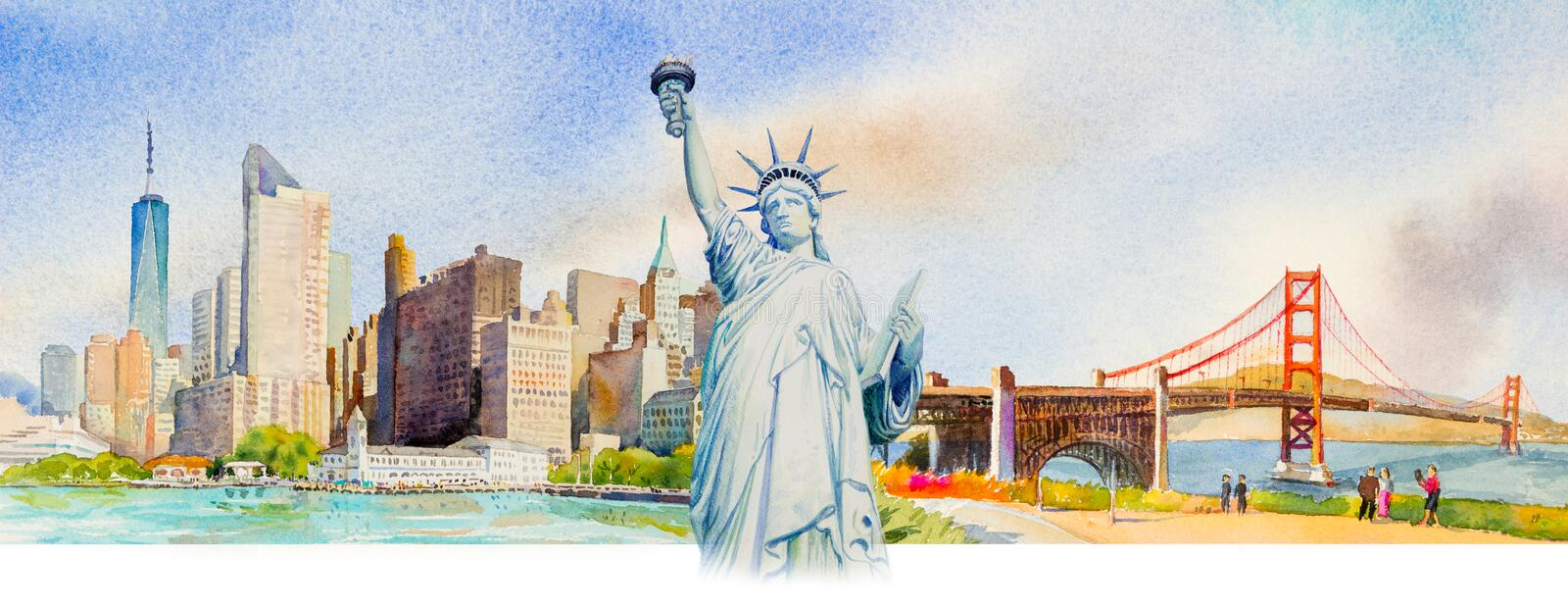 Statue Liberty, Manhattan urban, Golden gate bridge in USA. Famous landmarks of the world. Watercolor painting cityscape, architecture and business city. Hand stock illustration