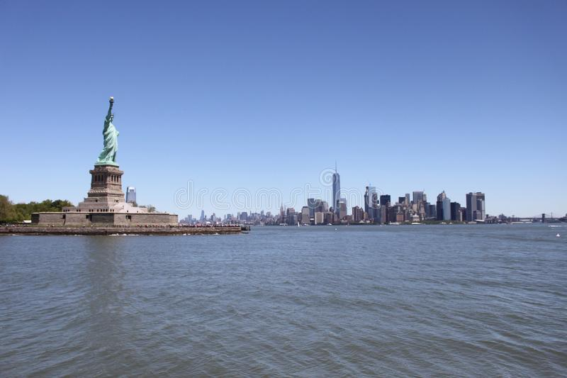 Statue of Liberty, Manhattan View - New york royalty free stock images