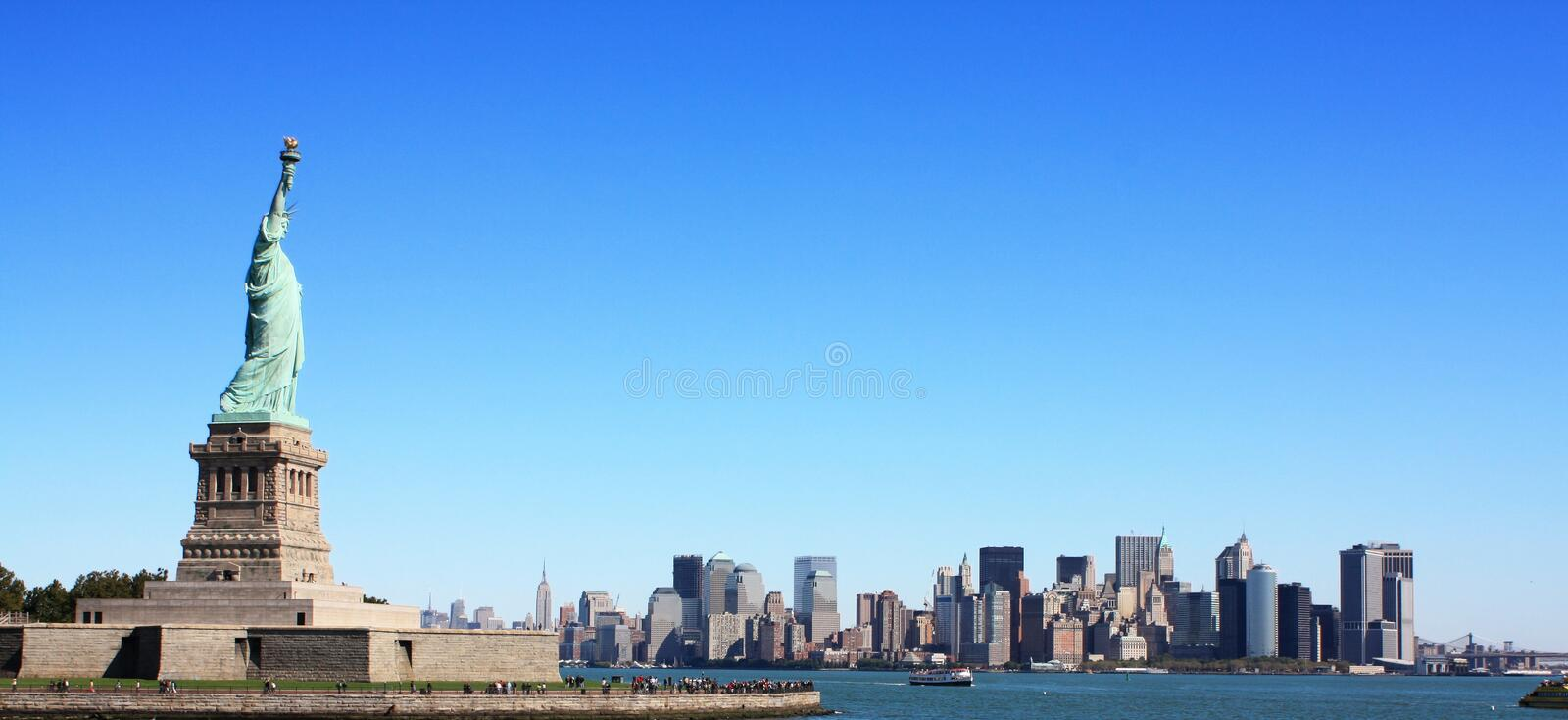 The statue of liberty and new york 2 royalty free stock photos