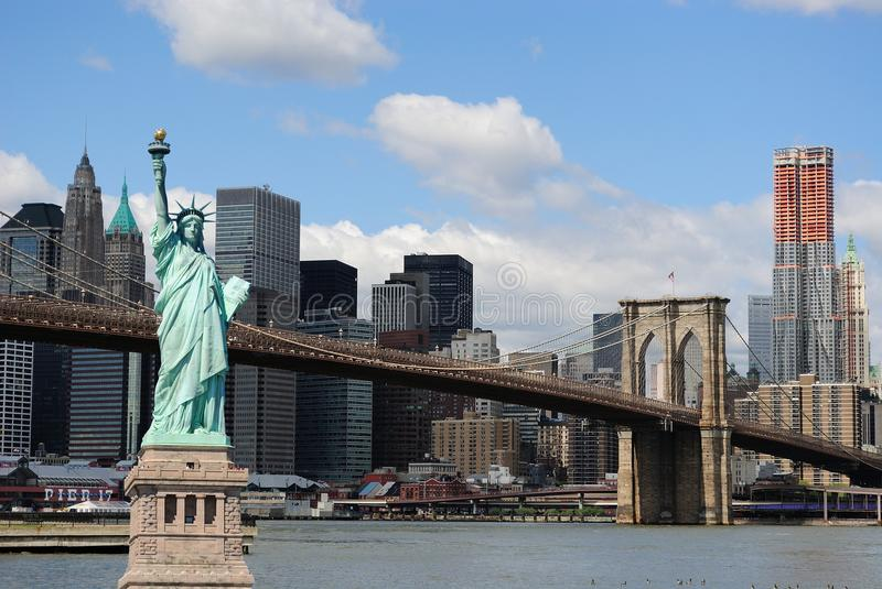 Download Statue Of Liberty And New York City Skyline Stock Photo - Image: 16070118