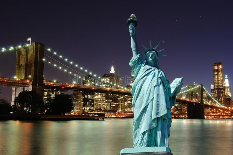 Download Statue Of Liberty And New York City Skyline Stock Image - Image: 16070525