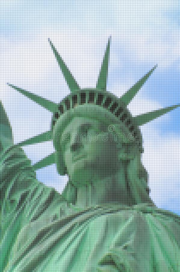 Statue of Liberty - New York City USA - Concept image with pixelation effect.  stock photos