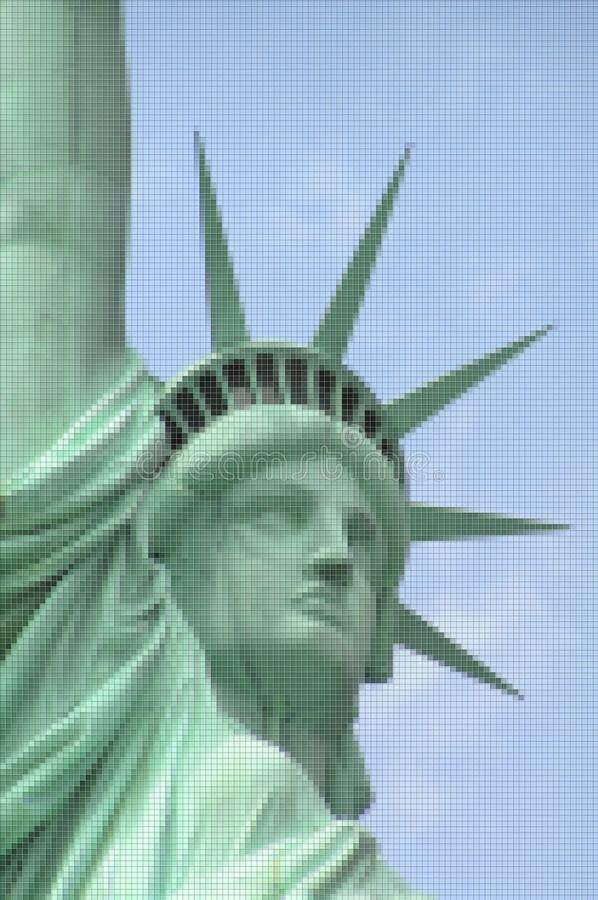 Statue of Liberty - New York City USA - Concept image with pixelation effect.  royalty free stock photo