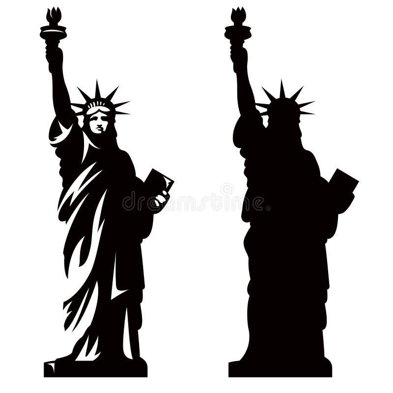 Statue of Liberty 2. Statue of Liberty. New York landmark. American symbol. Vector silhouette stock illustration