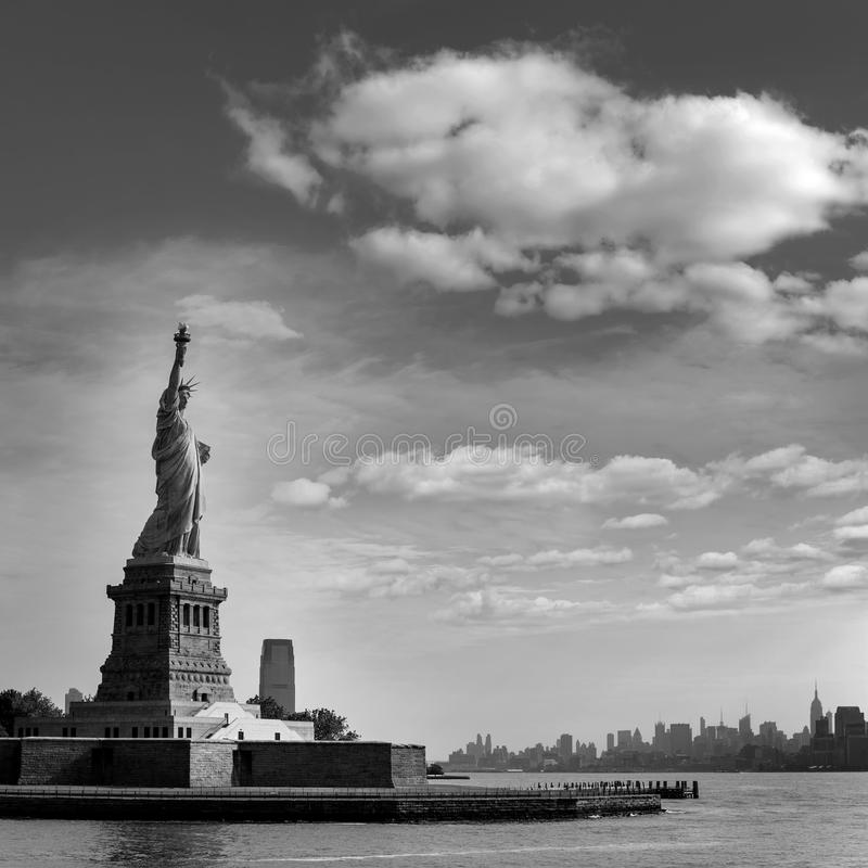 Statue of Liberty New York and Manhattan USA stock photos