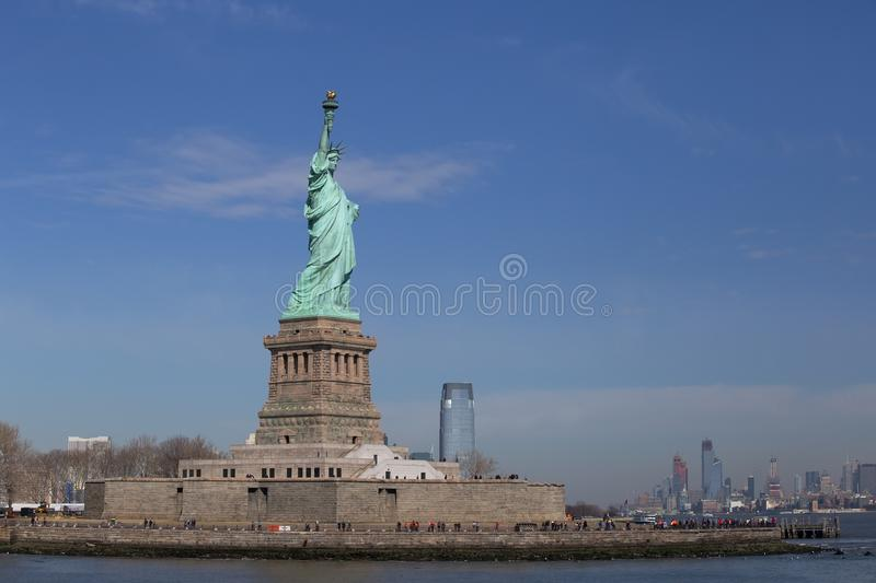 Statue of Liberty and New York Skyline royalty free stock photography