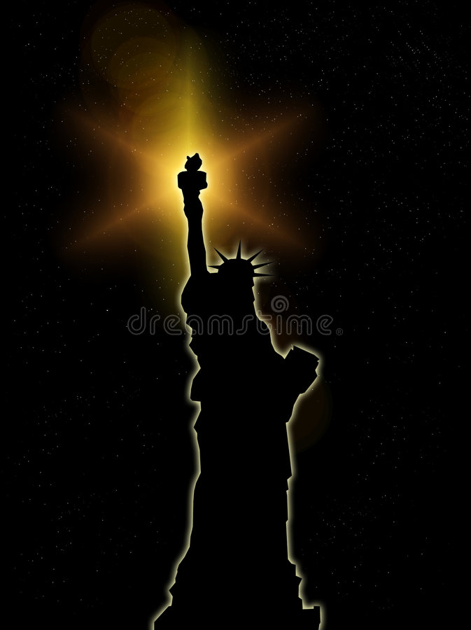 Download Statue Of Liberty At Night 5 Stock Illustration - Image: 6446165