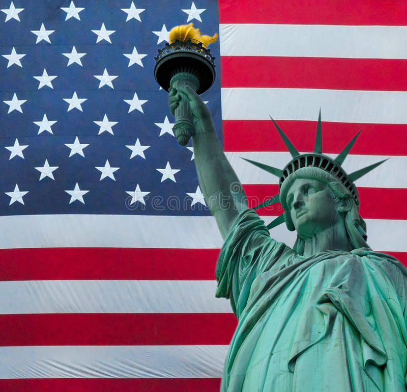 The Statue of liberty over the United States of America stock photo