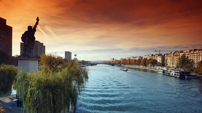 Statue of Liberty in Paris. City royalty free stock photo