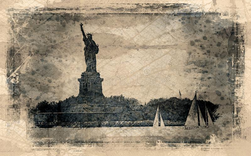 Statue Of Liberty And Sail Boats vector illustration