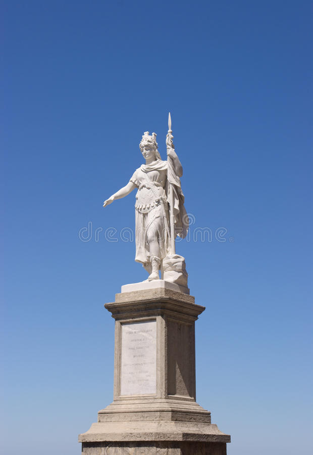 The Statue of Liberty in San Marino. Against a vivid blue sky. The statue, built in white marble of Carrara, was donated by Otilia Heyroth Wagener, countess of royalty free stock images