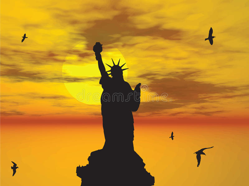 Statue Of Liberty Silhouette Against The Sunset Il Royalty Free Stock Photo