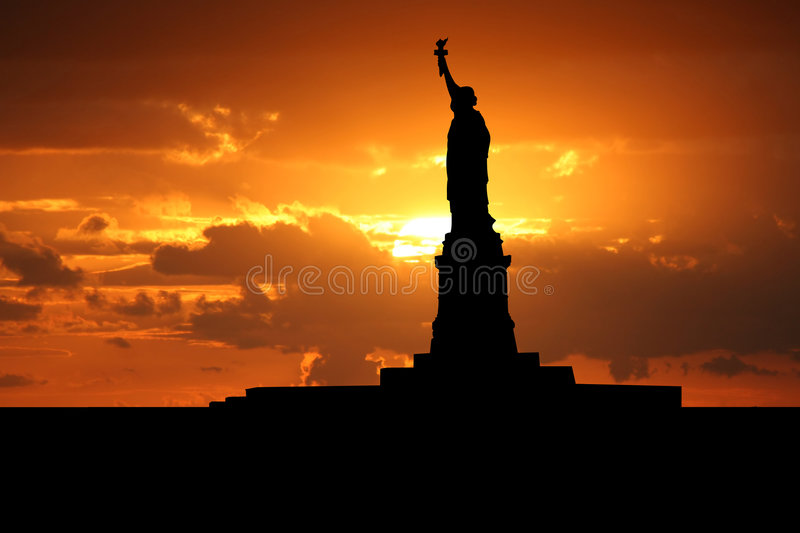 Statue of Liberty at sunset vector illustration