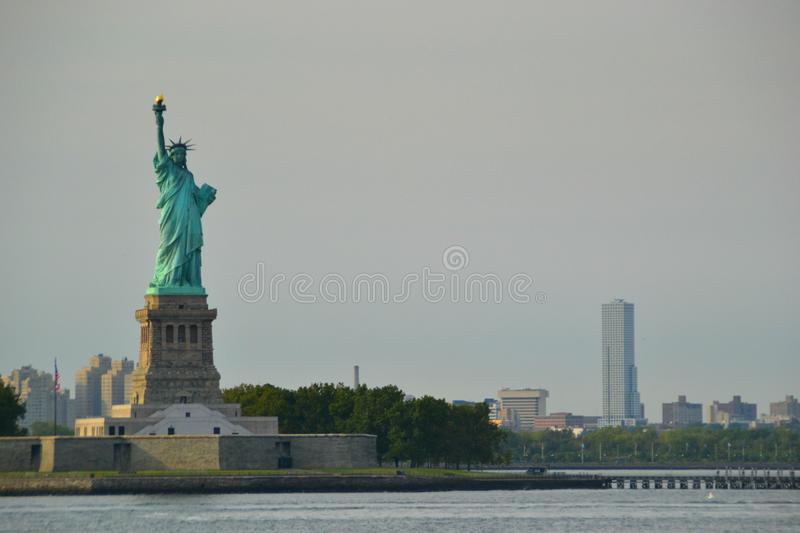 Statue of Liberty during the sunset stock photos