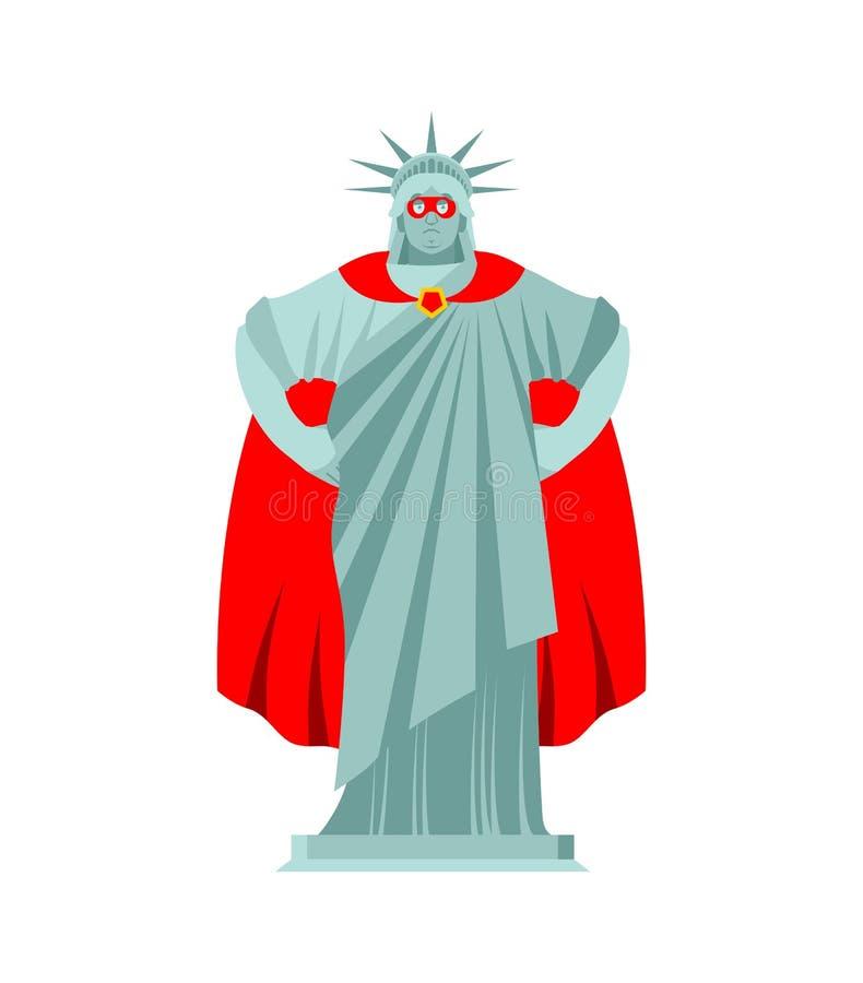Statue of Liberty superhero. Super Sculpture Architecture USA in mask and raincoat vector illustration